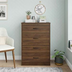 Mainstays Classic 4 Drawer Dresser, Walnut Finish