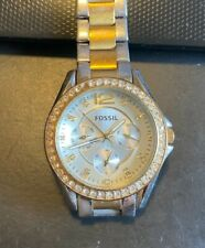 Women's Two Tone Fossil Watch, Crystal Accented Bezel, All Stainless, WR 10ATM