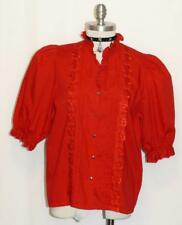 "EYELET LACE Button Down SHIRT Blouse German Women Dirndl Western RED B43"" 16 L"
