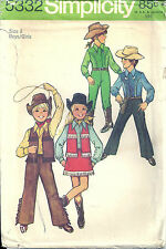 VTG Simplicity Sewing Pattern 5332 Cowboy Cowgirl Costume Boy Girls 8