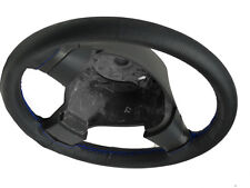FITS DAEWOO MUSSO BLACK PERFORATED LEATHER STEERING WHEEL COVER BLUE STITCHING