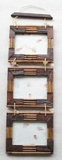"""Photo Frame Teak Wooden Triple Hanging Picture Frame 5"""" x 7"""" Rustic With Bamboo"""