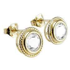 14k Yellow Gold With white Topaz Stud Earrings $179.00
