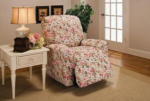 PINK FLORAL SLIPCOVER FOR RECLINER SOFA COUCH LOVESEAT CHAIR OR FUTON  B