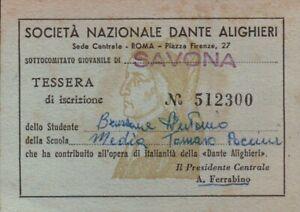 1959 TESSERA SOCIETA' NAZIONALE DANTE ALIGHIERI - SAVONA TOMMASO PACCINI ALBENGA
