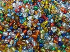 50g Colour Mix Silver Lined Glass Seed Beads Size 8/0 3mm