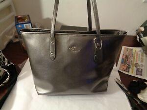 Coach Leather tote shoulder bag purse handbag metallic gunmetal Silver Gray EUC