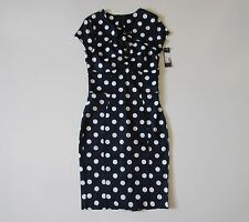 NWT Rock Steady Catch Me If You Can Navy Polka Dot Rockabilly Wiggle Dress S