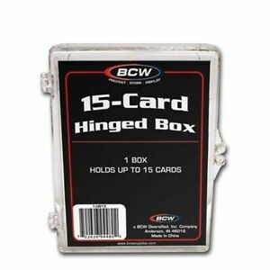 10 - BCW Brand 15 Card Storage Plastic Case Hinged Snap Box - hb15