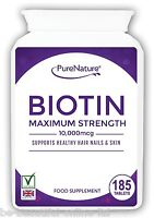185 Pure Biotin Max Strength 10,000mcg Healthy Hair Skin Nails Vegetarian Tabs