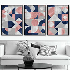 SET of 3 ABSTRACT Pink Navy Grey Textured Pattern Circles Wall Art Prints ONLY