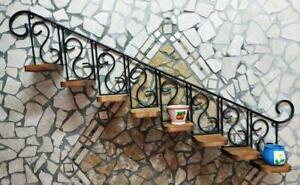 Fioriera mensola in ferro battuto e legno rustica porta piantine cucina giardino