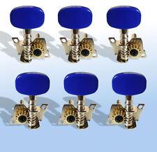 6 teste di macchine 3L/3R PIGNONE APERTO tasto blu acciaio String chitarra sintonizzatori UK