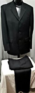 Size 102 R RDX ROGER DAVID mens 3 button wool suit black stripe business office