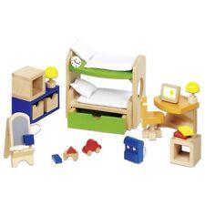 Puppenmöbel Kinderzimmer, Puppenhausmöbel aus Buchenholz, 28 Teile