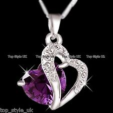 925 Sterling Silver Amethyst Purple Heart Crystal Necklace Pendant Gift for her