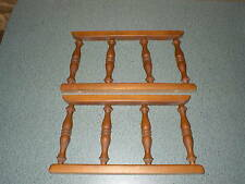 """2 Vintage Turned Wood Spindles Architectural Salvage End Table Rails 14"""" x 7 5/8"""