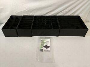 Simple Houseware Closet Underwear Organizer Drawer Divider 4 Set Black - OpenBox