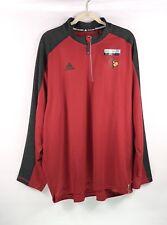 Adidas Louisville Cardinals Pullover Shirt Mens Size 2XL Red Long Sleeve 1/4 Zip