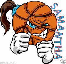 "4"" Fighting Basketball Girl Vinyl Decal- Customized!"