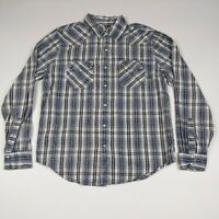 Mens Levis M Blue Gray Plaid Long Sleeve  Pearl Snap Button Front Western Shirt