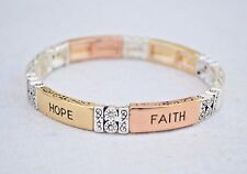 Faith Hope LOVE Bangle Bracelet Silver Tone Holiday Gift