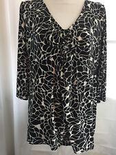 Merona (Target) Womens Shirt Top Black White Floral Plus Size 1 Blouse Polyester