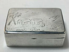 Coin Silver Pill / Patch Box Etched Farm Scene Unmarked 19th Century