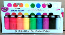 TULIP PERMANENT FABRIC SPRAY PAINT 9PK  NEON  EACH 1.9 OZ  ( 56 ML )