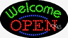 """New """"Open Welcome"""" 27x15 Oval Solid/Animated Led Sign w/Custom Options 24466"""