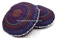 2 PC Indian Elephant Mandala Floor Pillow Round Tapestry Ethnic Cushion Cover