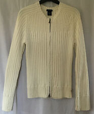 Calvin Klein Ladies Cream Cotton Zipped Cardigan, size Large (14/16)
