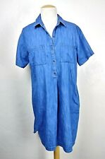 Old Navy Women's Bright Blue Chambray Two Front Pocket Shirt Dress Size L