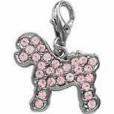 BICHON FRISE CLIP ON  PINK CRYSTAL CHARM FOR BAGS PHONES ETC