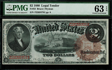 1880 $2 Legal Tender FR-52 Graded PMG 63 EPQ Choice Uncirculated