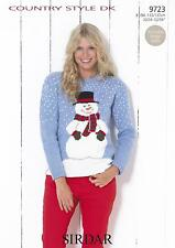 Sirdar 9723 Knitting Pattern Snowman Christmas Sweater in Country Style DK