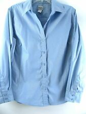 Chicos blouse Size 2 blue Cotton shirt Metallic Silver Pinstripe fitted top