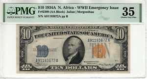 1934 A $10 SILVER CERTIFICATE NORTH AFRICA FR.2309 AA BLOCK PMG CHOICE VF 35
