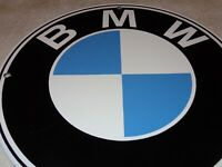 """VINTAGE BMW GERMAN LUXURY CAR 11 3/4"""" PORCELAIN METAL GASOLINE & OIL SIGN SPORTS"""