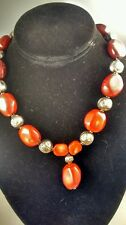 Statement  artisan studio 925 sterling red coral toggle pendant necklace