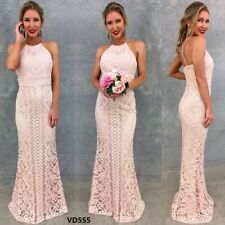 Maxi Lace Dress Size 14 Ivory HAlter Long Formal Bridesmaids Wedding