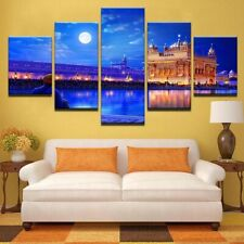 India Golden Temple Moon Night 5 piece HD Poster Wall Home Decor Canvas Print