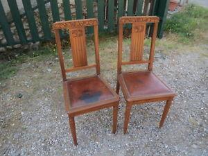 Chaise Ancienne Cuir Bois Laiton Art Déco Pour Déco Shabby ancien meuble france
