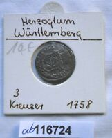 3 Kreuzer Silber Münze Herzogtum Württemberg Karl Eugen 1758 (116724)