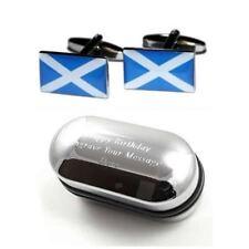 Scottish Scotland Flag Cufflinks & Engraved Gift Box