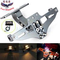 Motorcycle License Plate Holder LED Tail Light Fender Eliminator Kit For Suzuki