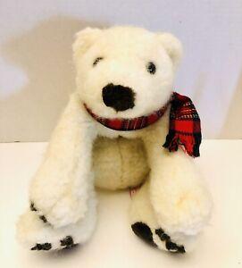 "Russ Glacier Christmas Scarf  Polar Bear 15"" Stuffed Toy Animal Plush"