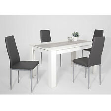 """Essgruppe Esstischset """"LOGAN"""" 5-teilig Tisch Weiß + 4 Stühle Kunstleder grau"""