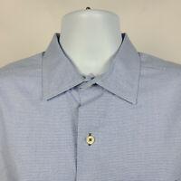 David Donahue Blue Houndstooth Brushed Cotton Mens Dress Button Shirt Size XL