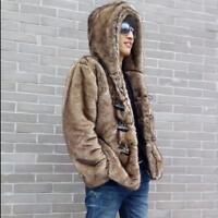 Mens Rabbit Fur Coat warm Jacket Hooded Short Jacket Outwear Soft Overcoat size